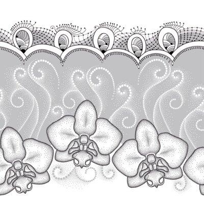 Cuadro Patrón transparente con polilla punteada Orquídea o Phalaenopsis, remolinos blancos y encajes decorativos sobre el fondo gris. Fondo floral en estilo de puntowork.