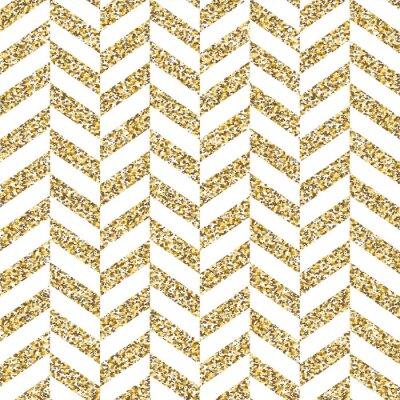 Cuadro Patrón transparente de chevron. Brillante superficie dorada