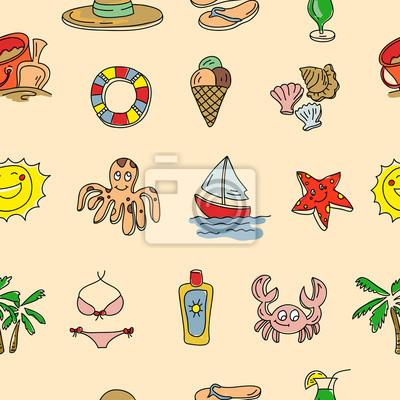 patrón transparente dibujado mano del vector con objetos de playa