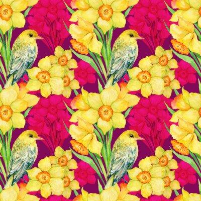 Cuadro Patrón transparente. Ilustración de acuarela, flores, flores silvestres, narcisos y aves Oriole
