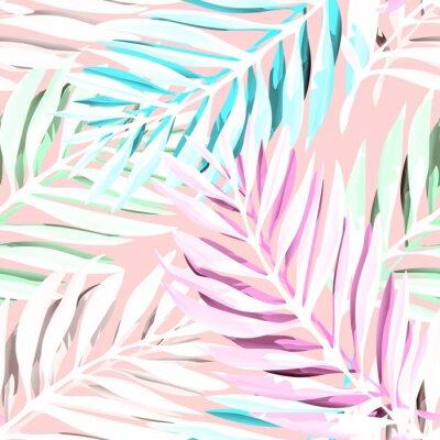 Cuadro Patrón tropical de las hojas de palma. Diseño de moda de la impresión con el follaje abstracto de la selva. Fondo exótico sin fisuras. Ilustración del vector