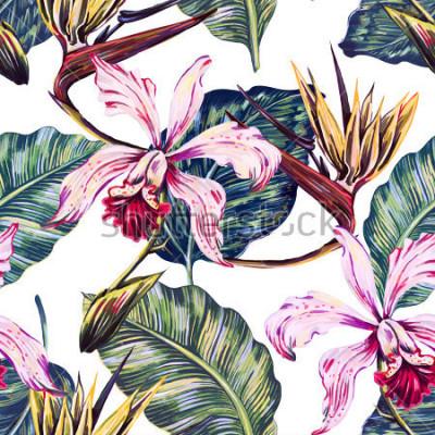 Cuadro Patrón tropical floral sin fisuras, fondo de verano con flores exóticas, hojas de palma, hoja de selva, orquídea, flor de ave del paraíso. Papel pintado botánico, ilustración en estilo hawaiano.