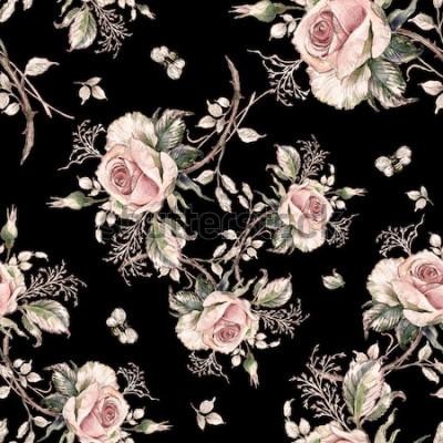 Cuadro Patrones de rosa sin fisuras y bumble bee-7
