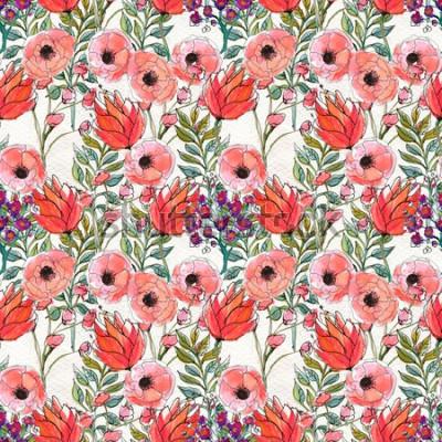 Cuadro Patrones sin fisuras con flores de colores
