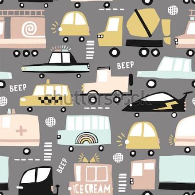 Cuadro Patrones sin fisuras con lindos autos. Coches de dibujos animados, escotillas de carretera, ilustración de vector de paso de cebra. Perfecto para tela infantil, textil, papel tapiz infantil. Ilustraci