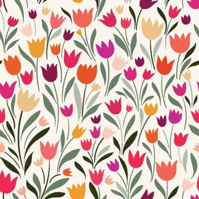 Cuadro Patrones sin fisuras con tulipanes dibujados a mano