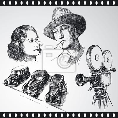 película - colección de dibujado a mano