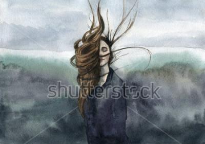 Cuadro pelo ondeando en la brisa, nina, acuarela caprichosa
