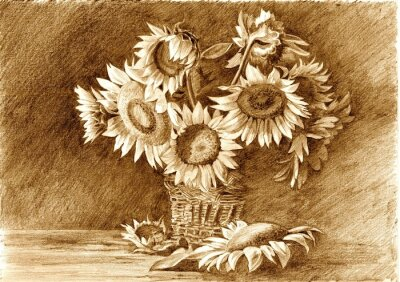 Cuadro Pencil drawing of bouquet of sunflowers in vase closeup