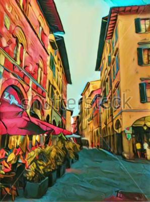 Cuadro Pequeña calle italiana de la vendimia en Florencia. Antigua arquitectura tradicional de Italia. Arte grande de la pintura al óleo del tamaño. Impresionismo moderno dibujado ilustraciones. Impresión ar