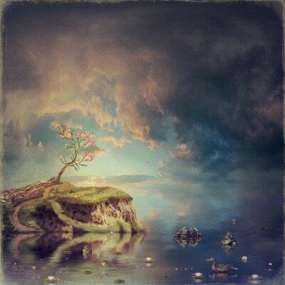 Cuadro Pequeña isla con un árbol de sakura en el río