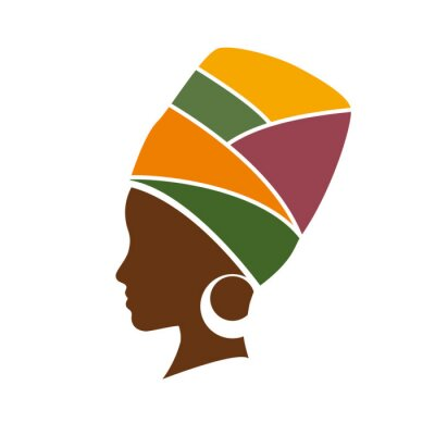 Cuadro Perfil del vector de la mujer africana con sombrero