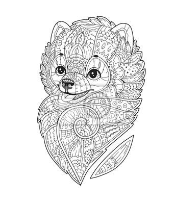 Perro estilizado de zentangle. vector dibujado mano pom. perro ...
