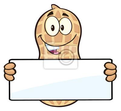 Personaje de dibujos animados de cacahuete sosteniendo una muestra ...