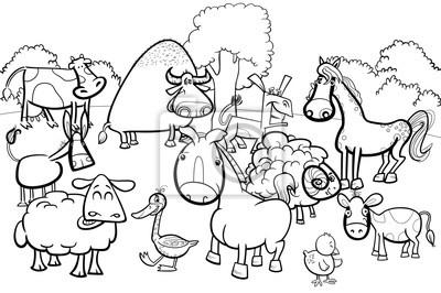 Cuadro Personajes De Animales De Granja De Dibujos Animados Para Colorear