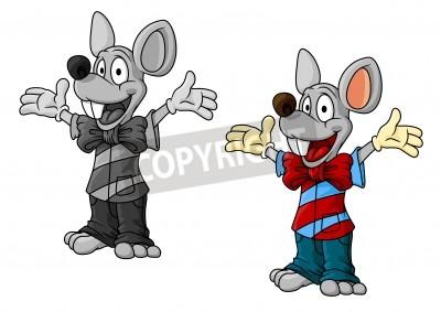 Personajes de dibujos animados ratn felices en la ropa que agitan