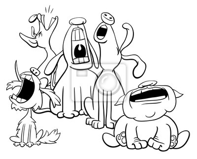 Cuadro Personajes De Perros Ladrando O Aullando Para Colorear