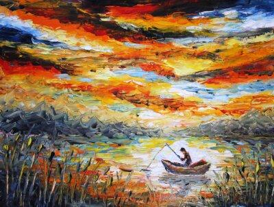 Cuadro Pesca, nubes, río. la puesta del sol, pintura. Espátula