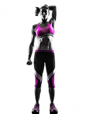 Cuadro Pesos Mujer ejercicios de fitness silueta