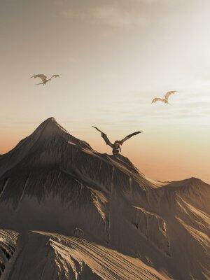 Cuadro Pico de dragón en la puesta del sol, ejemplo de la fantasía