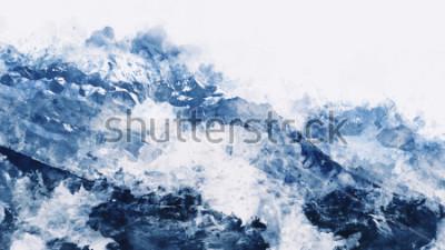 Cuadro Pico de la montaña en invierno duele en tono azul sobre fondo blanco, acuarela digital