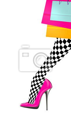 CuadroPierna Tacón RosaAlmacenamiento De Alto La Con Zapatos Color Mujer 67gbfy