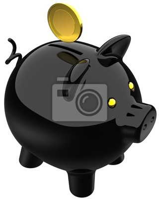 Piggy negro de carbono banco con una moneda de oro sobre él