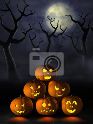 Pila de calabazas de Halloween en un bosque tenebroso de la noche