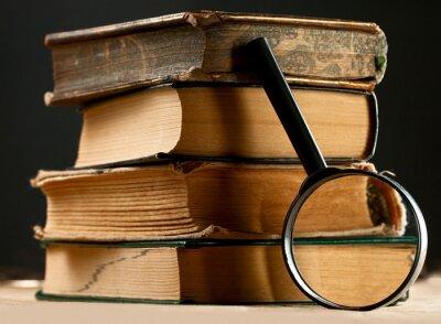Cuadro Pila de viejos libros con lupa