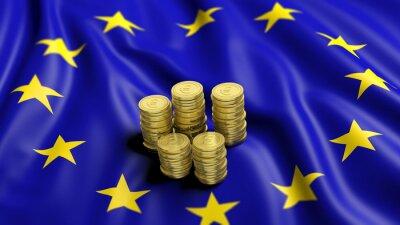 Cuadro Pilas de monedas de oro de euro en la bandera ondulada de la Unión Europea
