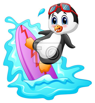 Pingüino De Dibujos Animados De Surf En El Agua Pinturas