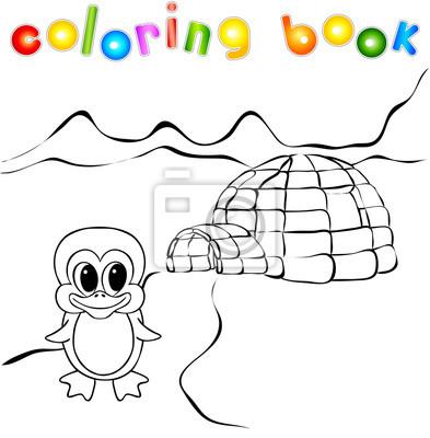 Pingino igl yurta hielo y luces nothern libro para colorear