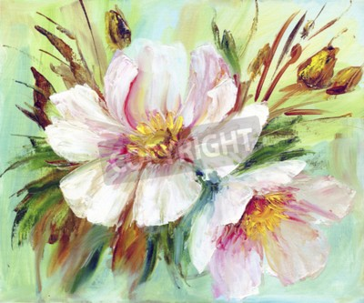 Cuadro Pink and white peony background. Oil painting floral texture