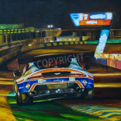 Cuadro Pintado a mano la imagen de coche de carreras conducir de noche con alta velocidad en el circuito. Ejemplo creado con acrílico