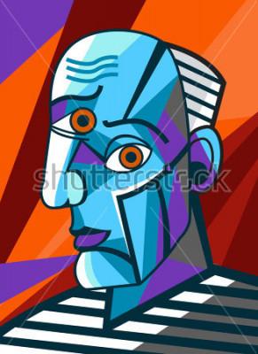 Cuadro pintor cubista gran pintor cara retrato