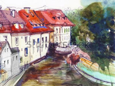 Cuadro Pintoresco checo pequeño pueblo acuarela ilustración cartel pintura al óleo lienzo arquitectónico mano dibujo fondo textil patrón postal libro libro bosquejo