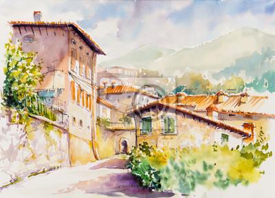 Cuadro Pintoresco pueblo de Vesio sobre Lago di Garda, región de Lombardía de Italia. Cuadro creado con acuarelas.