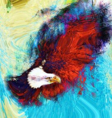 Cuadro pintura águila sobre un fondo abstracto, USA Símbolos Libertad