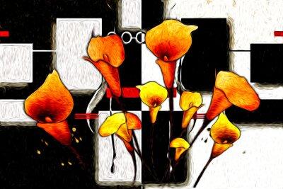 Cuadro Pintura al óleo abstracta de la flor