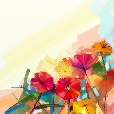 Cuadro Pintura al óleo abstracta de las flores de la primavera. Naturaleza muerta de la flor amarilla y roja del gerbera. Flores coloridas del ramo con la luz - fondo verde-azul del color. Estilo floral impr