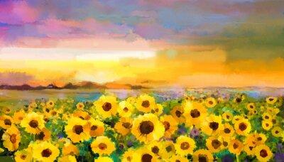 Cuadro Pintura al óleo amarillo dorado Girasol, Margarita flores en campos. Puesta de sol paisaje de prados con wildflower, colina y cielo en naranja, fondo violeta azul. Pintura de mano verano floral estilo