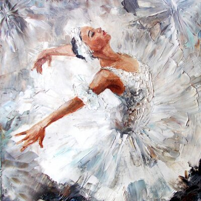 Cuadro Pintura al óleo, bailarina de la muchacha. Dibujó bailarina linda bailarina