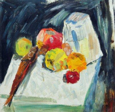 Cuadro Pintura al óleo. Bodegón con peces y manzanas sobre la mesa