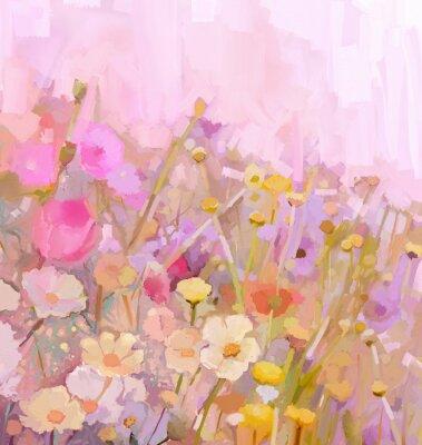 Cuadro Pintura al óleo Campo de flores, estilo suave color desenfoque