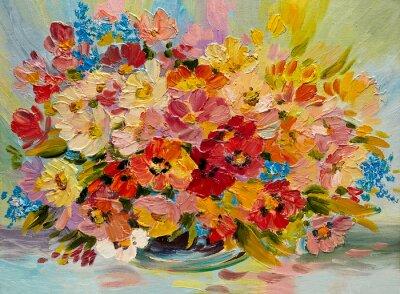 Cuadro Pintura al óleo - colorido ramo de flores de verano sobre un fondo abstracto