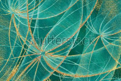 Cuadro Pintura al óleo con textura de fondo con flores de diente de león resumen con rayas doradas y manchas de óxido en el lienzo para el diseño, alfombras, papel pintado, baldosas de cerámica, marco de