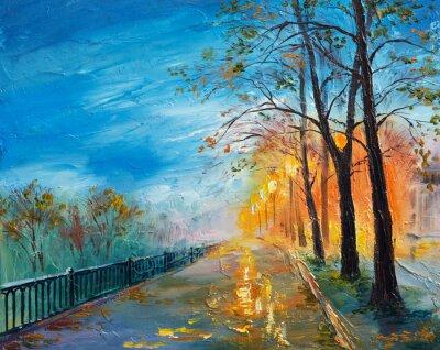 Cuadro Pintura al óleo de la calle de otoño por la noche.