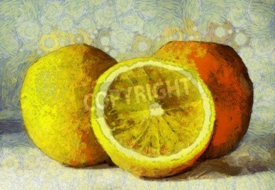 Cuadro pintura al óleo de las frutas de color naranja en blanco
