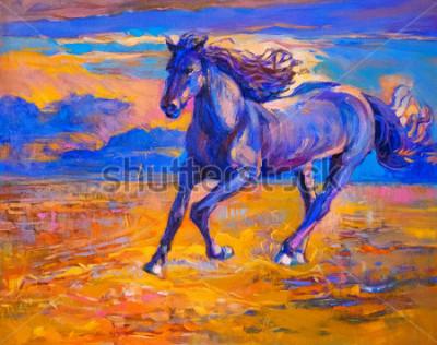 Cuadro Pintura al óleo de un caballo corriendo. Arte Moderno