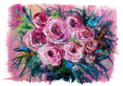 Cuadro Pintura al óleo de un ramo de rosas. Estilo impresionista.